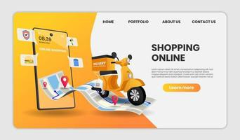 Food delivery service landing page  vector