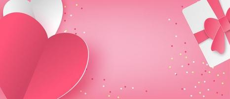 Love banner in paper cut style vector