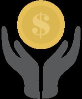 munt dollar en hand
