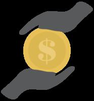 Münzdollar und Hand