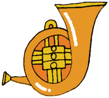 Tuba de instrumentos musicales dibujados a mano