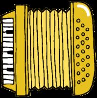 acordeón de instrumentos musicales dibujados a mano