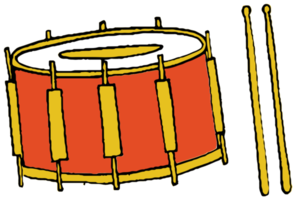 tambor de instrumento musical dibujado a mano