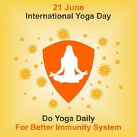 International Yoga Day Poster with Woman and Virus Cells