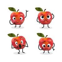 Conjunto de personajes de dibujos animados de manzana incluyendo manzana sorprendida vector