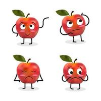 Apple Cartoon Character Set Including Sad Apple