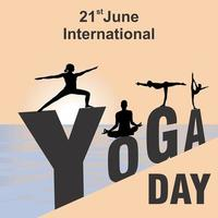 Cartel del día internacional del yoga con posturas de yoga en letras vector