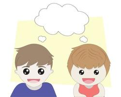 Boy and girl thinking with empty speech bubble vector