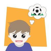 menino pensando em bola de futebol vetor