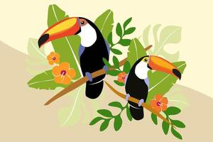 Toucan Couple on Branch with Palm Leaves vector
