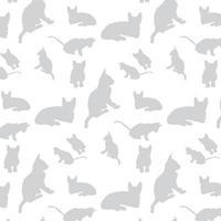 patrón de silueta de gato gris vector