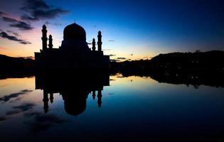 Silhouette of a mosque in Sabah, Borneo, Malaysia