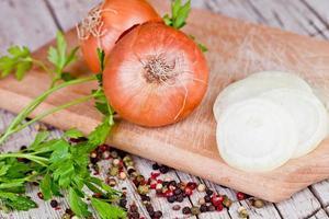 fresh onions, parsley and peppercorns