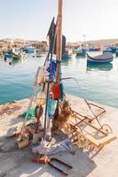 Colorful typical boats in Marsaxlokk, Malta.