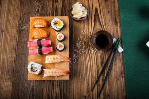Oriental Japanese sushi set with seafood
