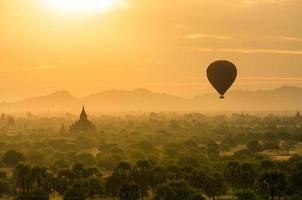 The Ancient Temples of Bagan(Pagan) with rising balloon photo