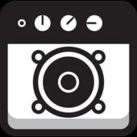 orador redondo redondo do ícone da música
