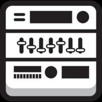 ronde vierkante muziek pictogram equilizer
