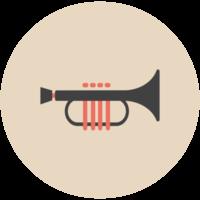 muziek platte pictogram trompet