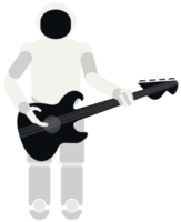 Robot playing music guitar png