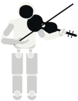 Robot playing music violin png