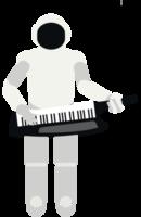 robô tocando teclado musical