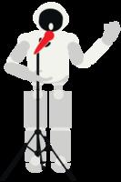 robô tocando música cantando