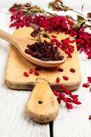 Goji berries in a spoon with barberry