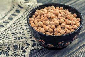 Raw chickpeas in wooden bowl