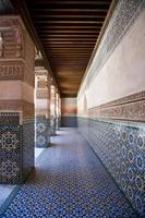 Colonnade in the building of Ben Youssef at  Marrakech, Morocco