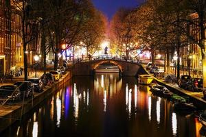 Night city view of Amsterdam photo