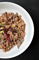spicy minced meat salad photo
