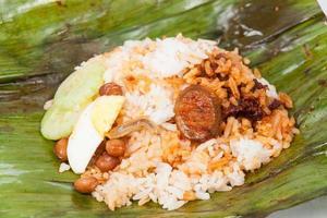 Unwrapped closedup of simple and original nasi lemak