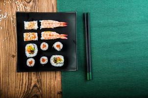 Healthy and tasty Japanese sushi with seafood photo
