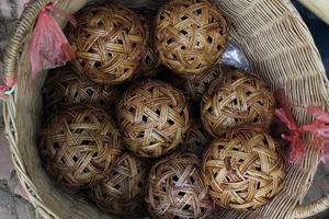 Sepaktakraw sale in ancient shop, photo