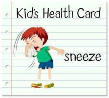tarjeta con la palabra estornudo vector