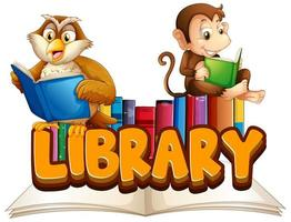Library with animals reading book vector