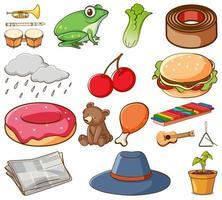 gran conjunto de diferentes alimentos vector