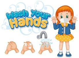 poster di coronavirus per lavarsi le mani vettore