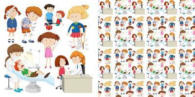 diseño de fondo transparente con niños en el hospital vector
