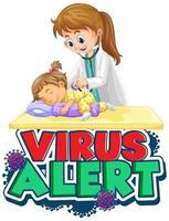 Virus alert with doctor  vector