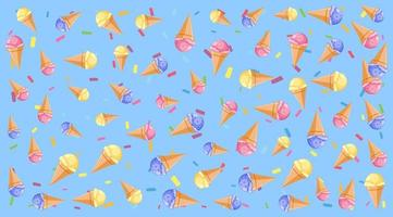 Seamless background pattern with ice cream