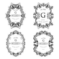 Set of Frame Luxury with Black Color vector