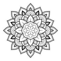 mandala de flor em fundo preto e branco vetor