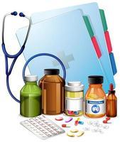 equipos médicos y pastillas vector