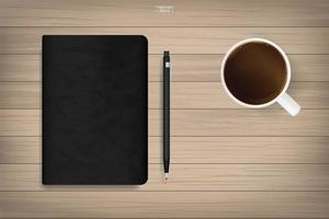 Journal with black cover texture with coffee cup
