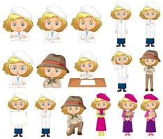 Girl in science gown doing different poses  vector