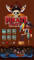 plantilla de juego con tema pirata vector