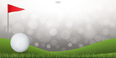 Golf ball on green hill background