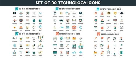 iconos de tecnología establecidos para negocios vector